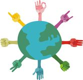 Different gestures and planet in vector Royalty Free Stock Photo