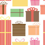 Different Gift Box Seamless Pattern Background Stock Images