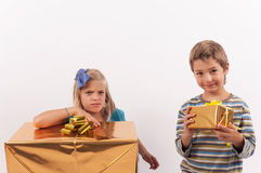 Different gifts, different emotions Royalty Free Stock Photography