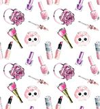Different girlish features in pink color. Seamless pattern. Watercolor hand drawn iluustration vector illustration