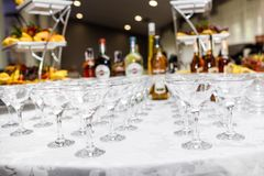Different glasses alcohol royalty free stock image