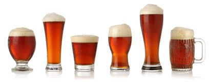 Different glasses of cold beer Stock Photos