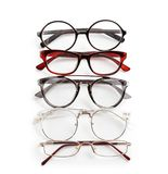Different glasses with corrective lenses. On white background. Vision problem royalty free stock photos
