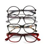 Different glasses with corrective lenses. On white background. Vision problem royalty free stock photo