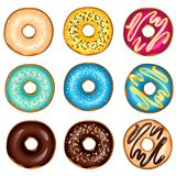 Different glazed colored donuts set. Vector illustration Royalty Free Stock Photography