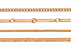 Different gold chains Stock Images