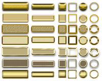 Different gold colors of buttons and Icons for webdesign Royalty Free Stock Photography