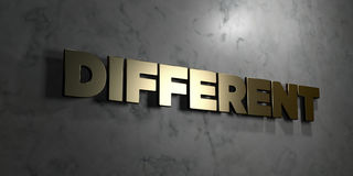 Different - Gold sign mounted on glossy marble wall  - 3D rendered royalty free stock illustration Stock Images