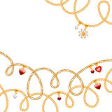 Different golden chains with red beads. Stock Photos