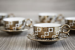 Different Golden Turkish Coffee Stock Photography