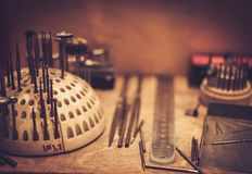 Different goldsmiths tools. royalty free stock photos