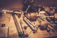 Different goldsmiths tools. Royalty Free Stock Photo