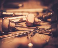 Different goldsmiths tools. Royalty Free Stock Photography
