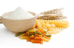 Different grades of paste ,flour and wheat ears Stock Photo