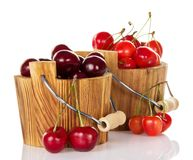 Different grades of sweet cherries in wooden Royalty Free Stock Photos
