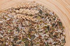 Different grain varieties mixed together. On a wooden plate Stock Photos