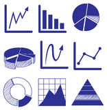 Different graphs in blue color Stock Image