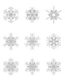 Different gray snowflakes Royalty Free Stock Photos