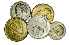 Different Greek coins stock photography