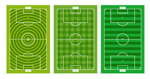 Different green football fields collection Stock Photo