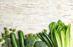 Different green vegetables on wooden background,. Top view Royalty Free Stock Photography