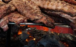 Different grilled meat outdoors, in Spain royalty free stock image