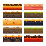 Different Ground Platformer Level Floor Design Set Royalty Free Stock Images