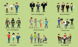 Different Groups of People Firefighter Lawyers. Journalist and bodyguard, lawyer and focus group, geek and sales team, camera crew and tourist illustration Royalty Free Stock Photos