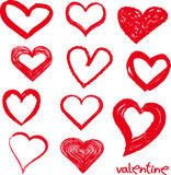 Different grunge hearts. Set of red grunge hearts for your valentine design Royalty Free Stock Images