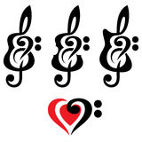 Different guitars, violin, treble clef. Vektor set of patterns for logo design Stock Photo