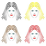 Different hair color Royalty Free Stock Photos