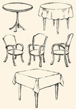 Different Сhairs and tables. Vector sketch Stock Photo
