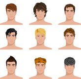 Different hairstyle men faces icons set Royalty Free Stock Photos