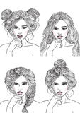 Different hairstyles for each day Royalty Free Stock Photo