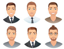 Different hairstyles for men. Collection of male images with beards mustache, glasses, , vector, illustration Stock Photography
