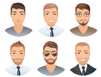 Different hairstyles for men. Collection of male images with beards mustache, glasses, , vector, illustration Royalty Free Stock Photo