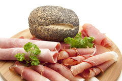 Different ham with rolls Royalty Free Stock Photos