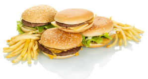 The different hamburgers and french fries isolated on white. Stock Images