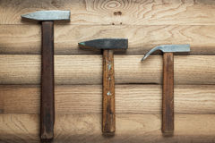Different hammers on the table Stock Image
