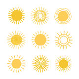 Different hand drawn suns Royalty Free Stock Photo