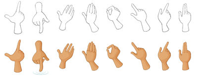 Different hand gestures. Illustration of the different hand gestures on a white background vector illustration