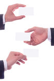 Different hand's gestures and. Business card on white stock images
