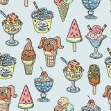 Different handdrown sketch dooddle ice cream vector dessert illustration seamless pattern background Stock Images