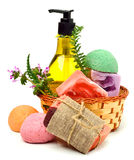 Different handmade soaps, bath bombs, gel and herbs Royalty Free Stock Images