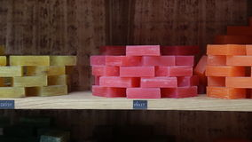 Different handmade soaps stock video footage