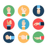 Different hands in action poses. Vector pictures in colored frames. Hand gesture pointing and ok, illustration of positive gesture Vector Illustration