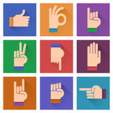 Different hands, gestures, signals flat design illustration;. Hand icon set on a colorful bright background stock illustration