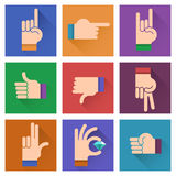 Different hands, gestures, signals flat design illustration;. Hand icon set on a colorful bright background Royalty Free Stock Photography