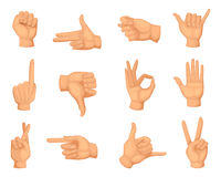 Different hands gestures. Vector pictures in cartoon style Royalty Free Stock Images