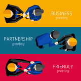 Different Handshake set. Different Handshake set for web. Flat vector illustration Stock Photography